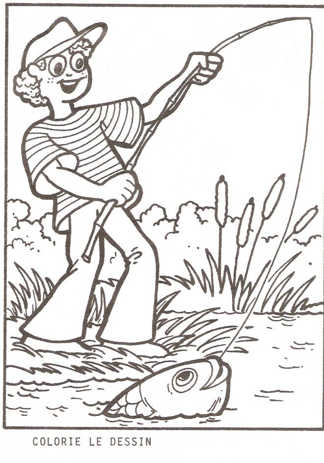 Coloriage et dessins gratuits pêcheur attrape un poisson à imprimer