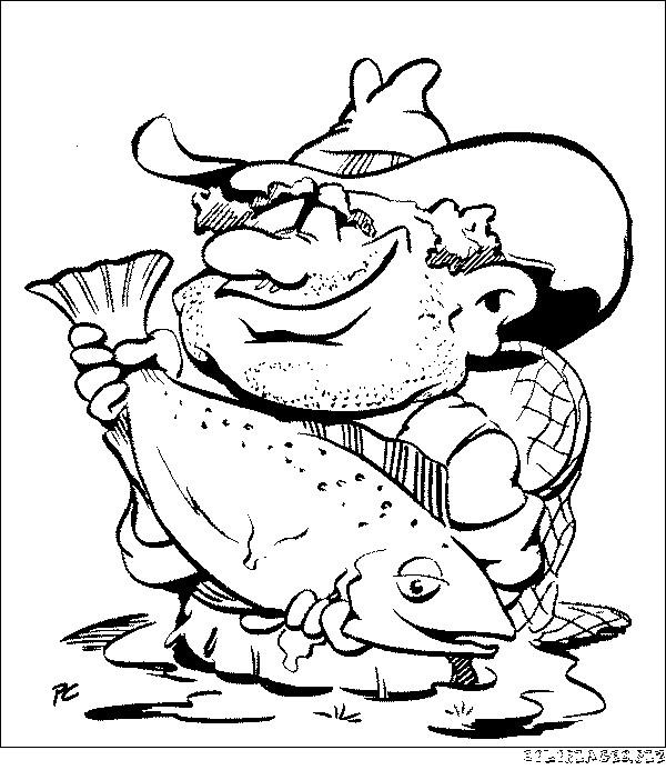 Coloriage et dessins gratuits pêcheur chanceux à imprimer