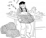 Coloriage et dessins gratuit pêcheur dans son navire à imprimer