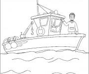 Coloriage pêcheur  dans son navire