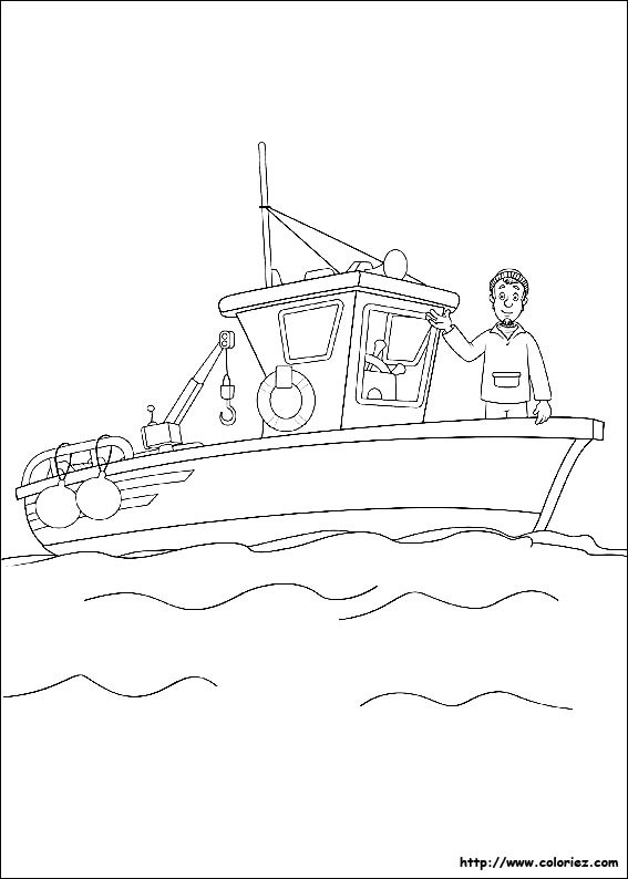 Coloriage et dessins gratuits pêcheur  dans son navire à imprimer