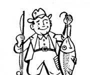 Coloriage Pêcheur dessin avec son poisson