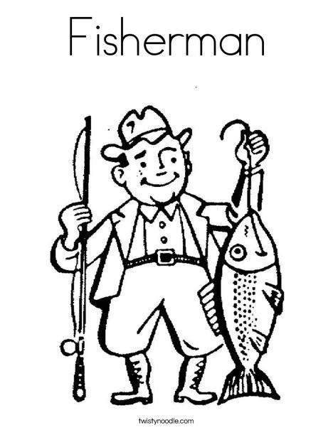Coloriage et dessins gratuits Pêcheur dessin avec son poisson à imprimer