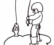 Coloriage Pêcheur dessin facile