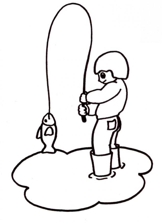 Coloriage et dessins gratuits Pêcheur dessin facile à imprimer
