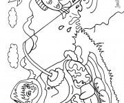 Coloriage Pêcheur dessin ligne