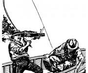 Coloriage et dessins gratuit Pêcheur en barque à imprimer