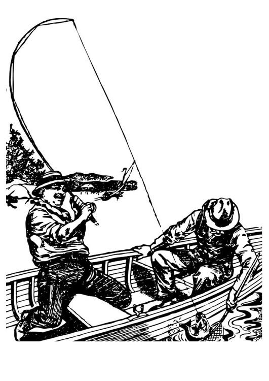 Coloriage et dessins gratuits Pêcheur en barque à imprimer