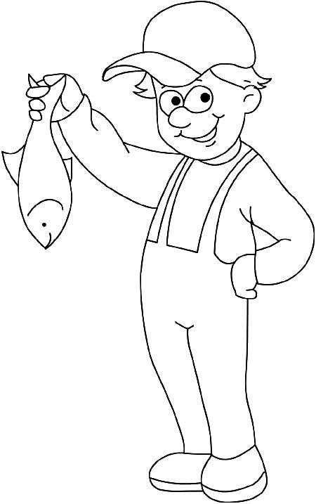 Coloriage et dessins gratuits Pêcheur enfant porte son poisson à imprimer