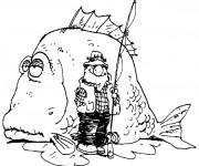 Coloriage et dessins gratuit Pêcheur et gros poisson à imprimer