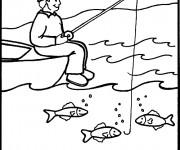 Coloriage et dessins gratuit pêcheur et ligne dans la mer à imprimer