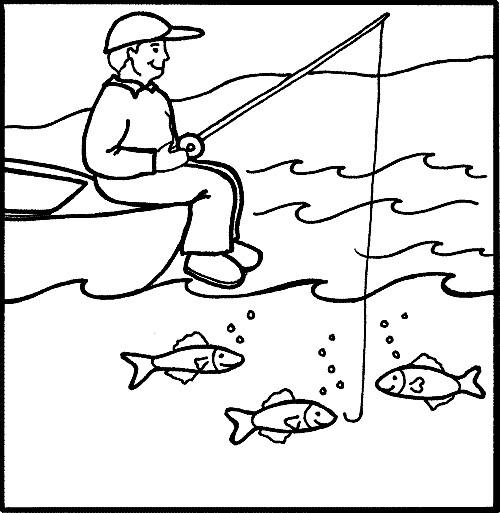 Coloriage et dessins gratuits pêcheur et ligne dans la mer à imprimer