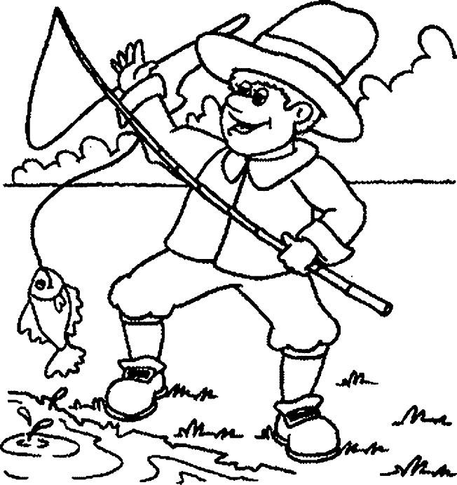 Coloriage et dessins gratuits pêcheur et poisson à imprimer