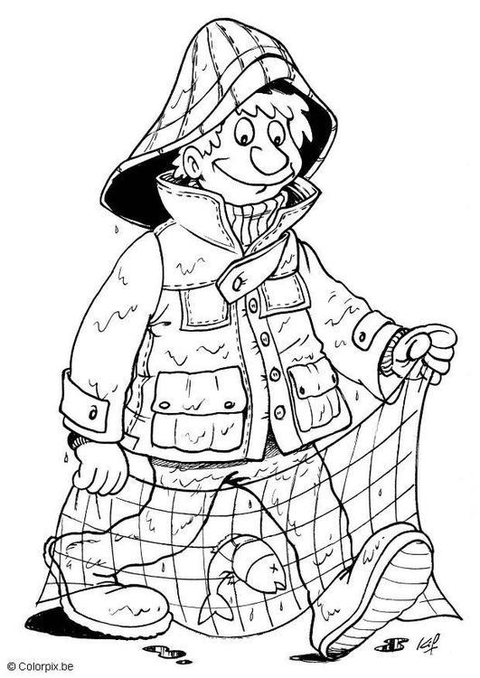 Coloriage et dessins gratuits pêcheur et ses équipements à imprimer