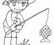 Coloriage et dessins gratuit pêcheur facile à imprimer