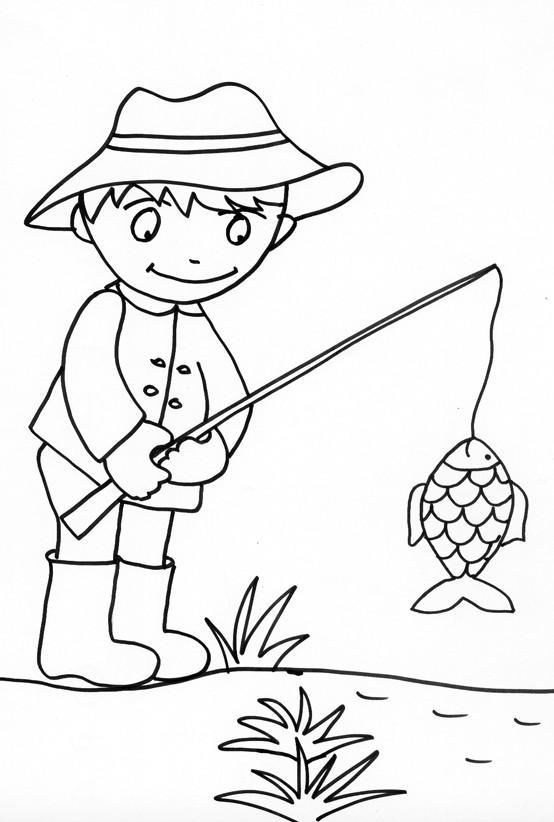 Coloriage et dessins gratuits pêcheur facile à imprimer