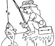 Coloriage et dessins gratuit pêcheur fille à imprimer