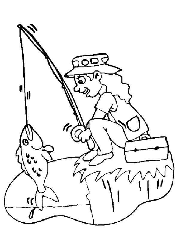 Coloriage et dessins gratuits pêcheur fille à imprimer