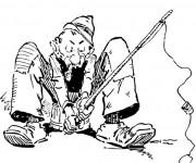 Coloriage Pêcheur fume en pêchant