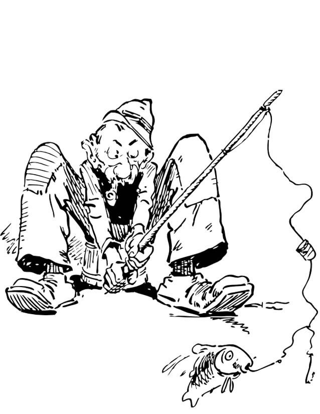 Coloriage et dessins gratuits Pêcheur fume en pêchant à imprimer