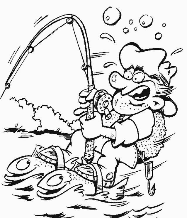 Coloriage et dessins gratuits pêcheur humour à imprimer