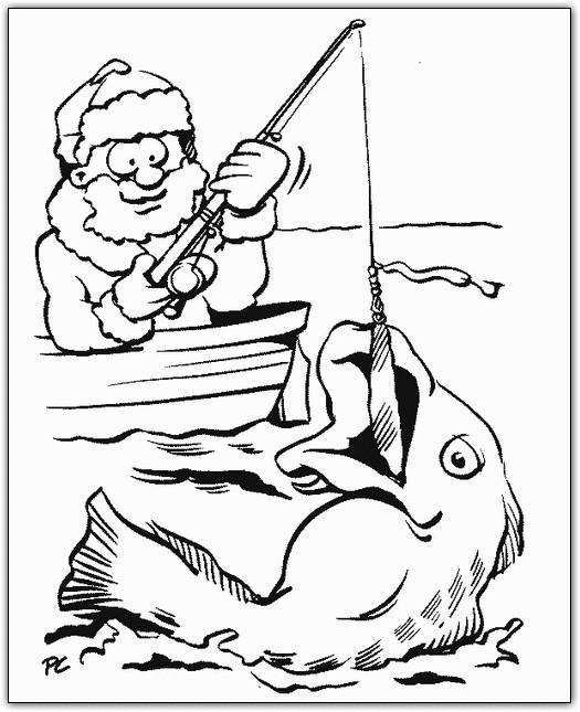 Coloriage et dessins gratuits Pêcheur pêche un poisson à imprimer