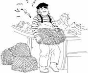 Coloriage et dessins gratuit pêcheur remonte les cages à imprimer