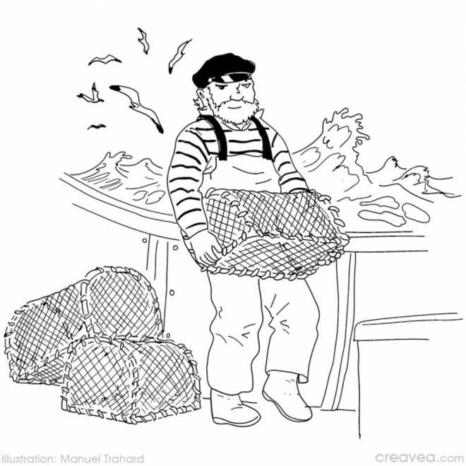 Coloriage et dessins gratuits pêcheur remonte les cages à imprimer