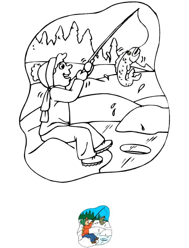 Coloriage et dessins gratuits Pêcheur sous la glace à imprimer