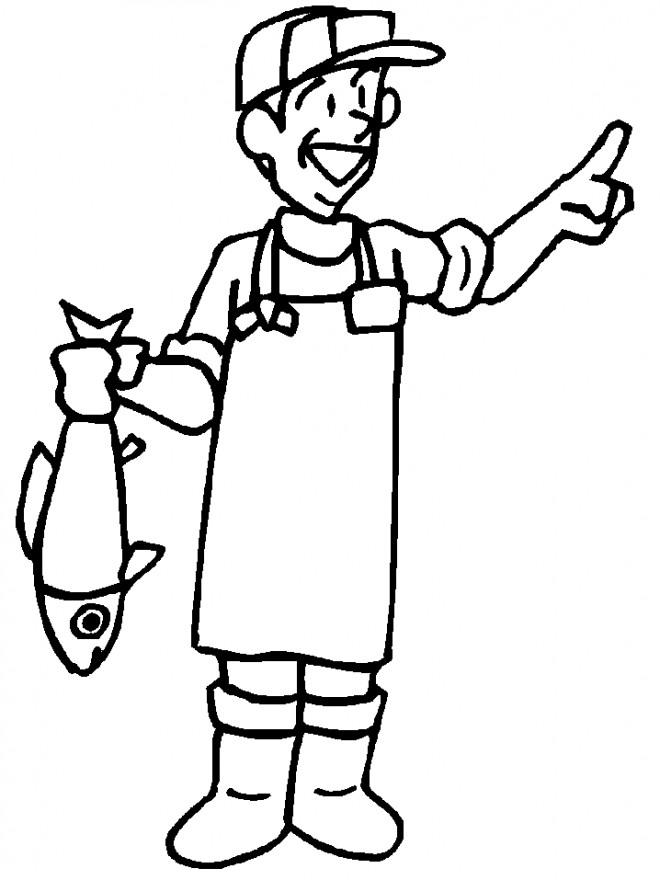 Coloriage et dessins gratuits pêcheur tout en souriant à imprimer