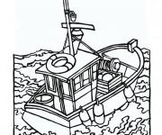 Coloriage et dessins gratuit Pêcheurs dans la mer à imprimer