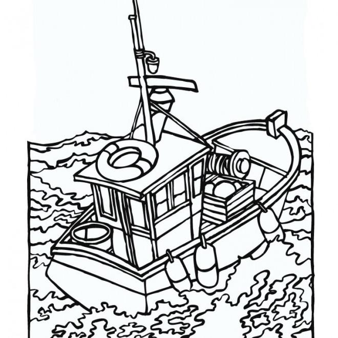 Coloriage p cheurs dans la mer dessin gratuit imprimer - Dessin de bateau facile ...