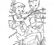 Coloriage et dessins gratuit pêcheurs  enfants à imprimer