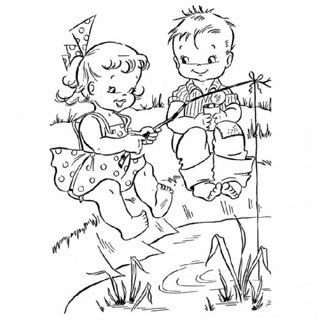 Coloriage et dessins gratuits pêcheurs  enfants à imprimer