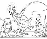 Coloriage et dessins gratuit Pêcheuse attrape un poisson à imprimer