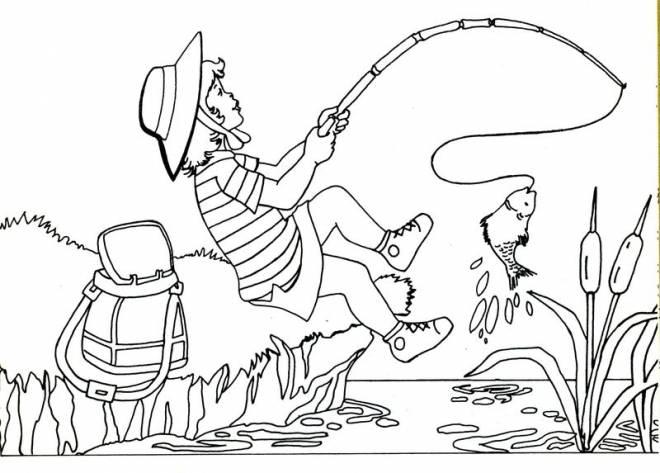 Coloriage et dessins gratuits Pêcheuse attrape un poisson à imprimer