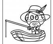 Coloriage Petit enfant pêche sur son barque