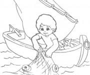 Coloriage Petit pêcheur fait sortir le filet