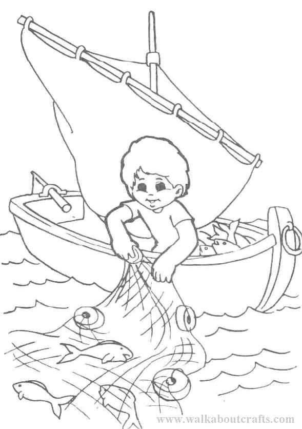 Coloriage et dessins gratuits Petit pêcheur fait sortir le filet à imprimer