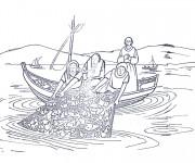 Coloriage Poissons dans les filets des pêcheurs