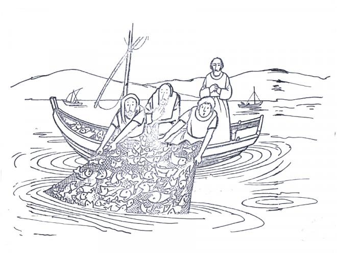 Coloriage et dessins gratuits Poissons dans les filets des pêcheurs à imprimer