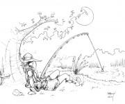 Coloriage Un beau dessin de pêcheur