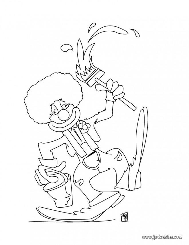 Coloriage Clown Garcon.Coloriage Clown Peintre Dessin Gratuit A Imprimer