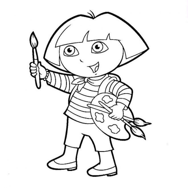 Coloriage et dessins gratuits Dora Peintre à imprimer
