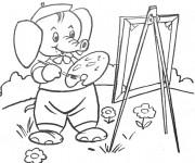 Coloriage et dessins gratuit Éléphant Peintre à imprimer