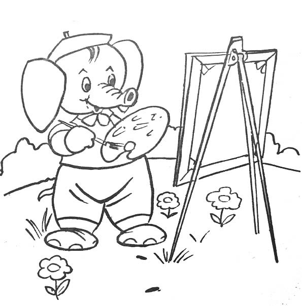 Coloriage et dessins gratuits Éléphant Peintre à imprimer