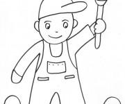 Coloriage et dessins gratuit Enfant Peintre à imprimer