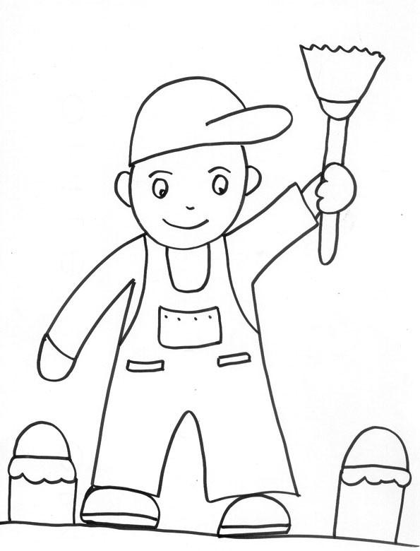 Coloriage Enfant Peintre Dessin Gratuit A Imprimer