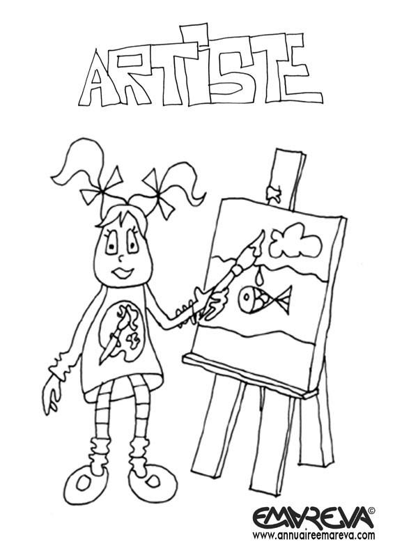 Coloriage et dessins gratuits Fille Artiste à imprimer