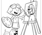 Coloriage Fille Peintre dessine un chien